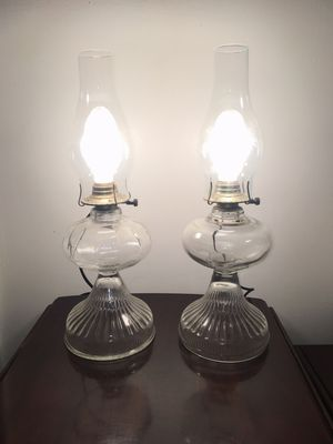 Pair of Gorgeous Vintage Oil Lamps Converted into Electrical Lamps for Sale in Baltimore, MD