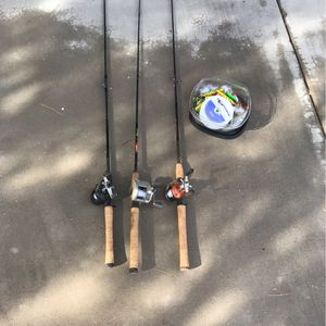 3 Fishing Poles and Misc Hooks and Line for Sale in Gilbert, AZ