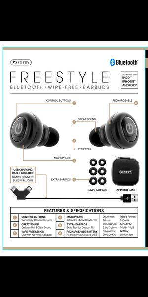 NEW Sentry Freestyle Bluetooth Earbuds for Sale in Charlotte, NC