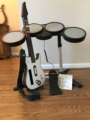 Wii drum set, guitar, and stool for Sale in Durham, NC