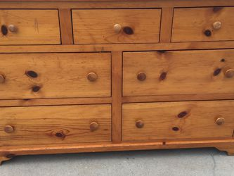 Solid Wood Long Dresser With Seven Drawers In Good Condition for Sale in Fresno,  CA