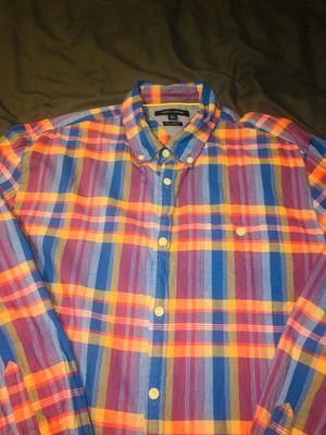 Tommy Hilfiger Men's Blue/Yellow/Pink Plaid Cotton/Linen Denim-Lined Shirt Sz XL for Sale in Chicago, IL
