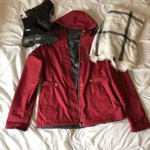 Red lined raincoat for Sale in Puyallup, WA