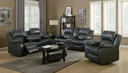 3pc grey or black leather reclining sofa set w/cup holders for Sale in Marietta,  GA