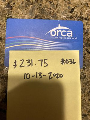 orca card $236.75 for Sale in Bellevue, WA