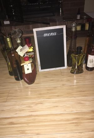 Assortment of Decorative Condiment/Oil Bottles & Menu Sign for Sale in Florissant, US
