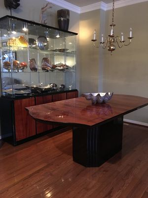 Glossy solid wood dining table with matching china closet for Sale in Gaithersburg, MD
