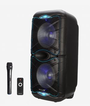 "Brand New Bluetooth speaker. 2x12"" woofers. LED lights. Rechargeable battery. Wireless microphone included. Handle and wheels. NUEVO EN CAJA. for Sale in Doral, FL"