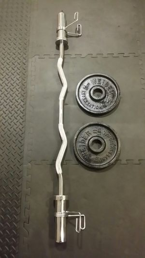 Olympic curl bar with clips for Sale in Chicago, IL