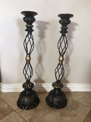 Candle holders LARGE Black & Gold $30 for Both for Sale in Surprise, AZ