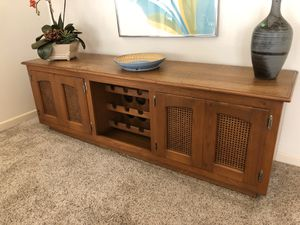 Custom made old growth teak table/wine rack / cabinet . 72x19/24 pick up in Huntington Beach asking $450 make offers this piece is in great condition for Sale in Costa Mesa, CA