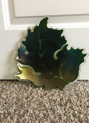 Green Glass Leaf Plate for Sale in Post Falls, ID