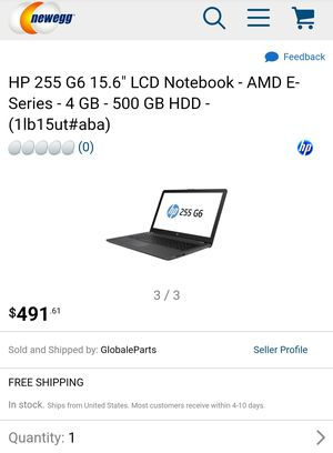 """HP 255 G6 Notebook PC Laptop - AMD E-Serie E2-9000E (1.5-2.1GHz 2+2 Cores) 4 GB DDR4 2400 MHz- 500GB HDD - 15.6"""" HD Display + Radeon R2 GDDR5 Graphics for Sale in Provo Canyon, UT"""