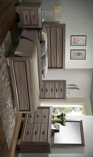 Buckeye Grey/Brown Finish Solid Wood Queen Size Bedroom Set |ask king size bedroom set for Sale in Killeen, TX