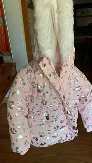 12M Girls Carters Winter Coat Pink Silver Leopard Like New for Sale in Lincolnwood, IL
