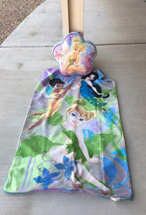 Tinkerbell fleece sleeping bag with storage pillow for Sale in Las Vegas, NV