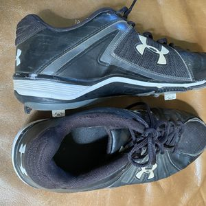 Men's Black Leather Metal Cleats Shoes Size 11 1/2 for Sale in Fresno, CA