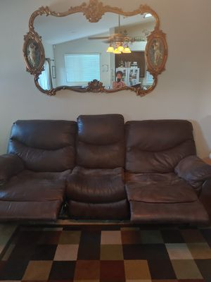 Brown leather couch set for Sale in Winchester, CA