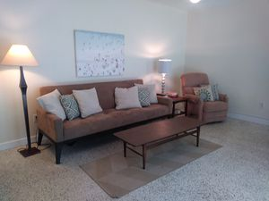 West elm brown couch futon folds down to twin - pickup downtown orlando by science center for Sale in Winter Park, FL