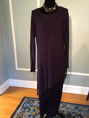 Ladies Chico's brand Purple Travelers Pants / Slacks with Shear long Fringe-bottom Top - Chico's size 3 Large / X-Latge for Sale in Evanston, IL