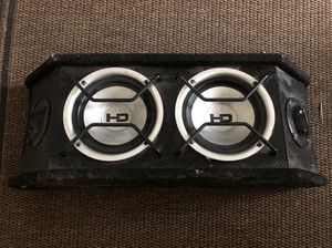 "(2) 6"" subwoofer in custom made box with carbon fiber stereo system speakers amp for Sale in Anaheim, CA"