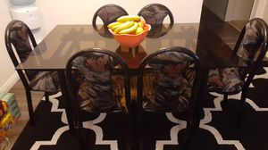 Kitchen table 6 chairs glass table small chip for Sale in Covina, CA