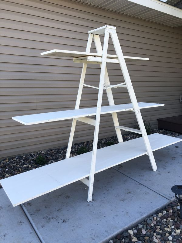 Rustic white ladder shelf