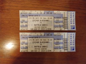 Blackhawks Tickets 11/17/19 for Sale in Downers Grove, IL