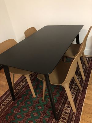 Ikea black Lisabo dining table and brown Odger chairs for Sale in Washington, DC