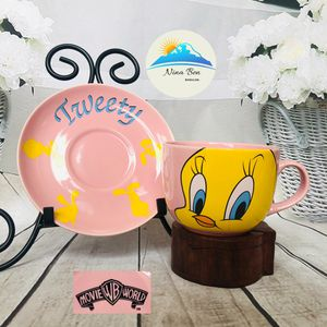 Looney Tunes Tweety Bird Pink And Yellow Large Mug Cup And Saucer for Sale in Fort Carson, CO