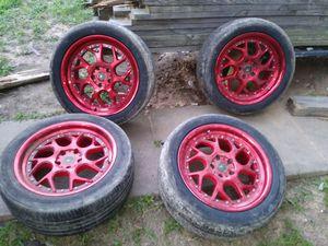 4 Red chrome rims for Sale in Dallas, TX