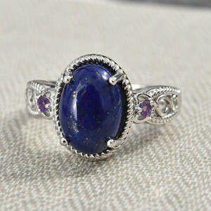 Lapis Lazuli, Amethyst Ring in Platinum Bond Brass (Size 7) for Sale in Lawrenceville, GA