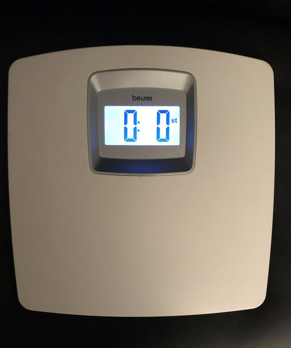 Beurer White Digital Bathroom Scale with Extra Large LCD Display, White Illumination, PS25