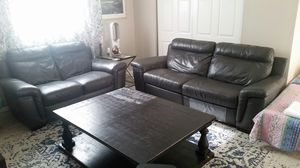 Beautiful, dark grey leather sofa and love seat for Sale in Riverside, CA