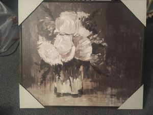 Flowers framed canvas shadow box 15.6x18in for Sale in North Brunswick Township, NJ