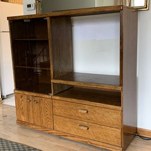 Oak Wall Cabinet Unit For Storage, Entertainment Center for Sale in Schaumburg, IL