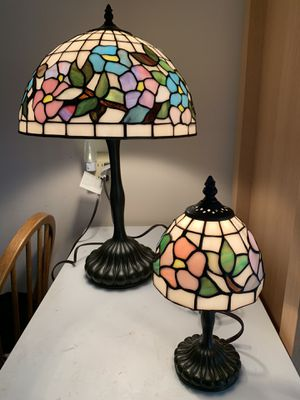 Stunning Vintage Ouoizel Collectibles Tiffany Style Slag Stained Glass Lamp Set See Details. for Sale in Timberlake, OH