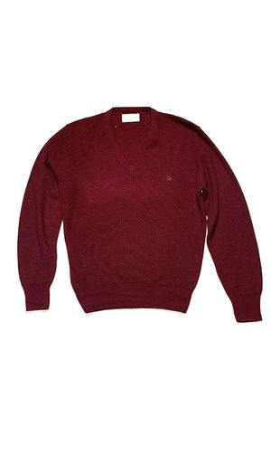 Christian Dior Mens Xl Vintage Burgundy V Neck Sweater 80s Red Logo Accent Retro for Sale in Clermont, FL