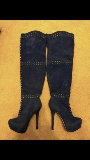 Society 86 Blue Suede & Crystal Thigh High Boot High Heels for Sale in Las Vegas, NV