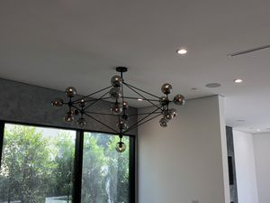 "Black chandelier 21 glass balls new in box adjustable height 60"" Diameter for Sale in Los Angeles, CA"