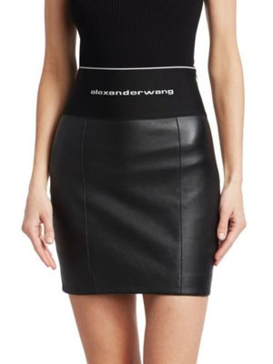Alexander Wang Logo Waistband Leather Skirt for Sale in Wellesley, MA