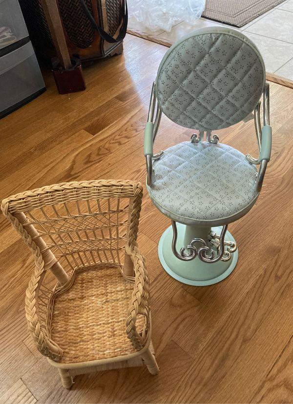American Girl salon chair and wicker chair
