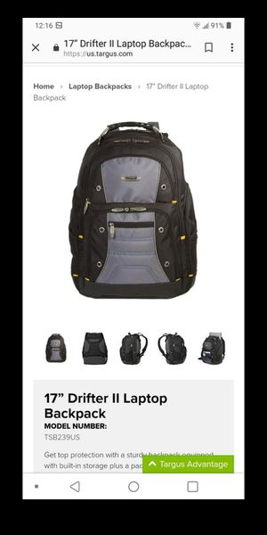Targus drifter 2 laptop backpack great storage perfect for school college for Sale in Lawrenceville, GA