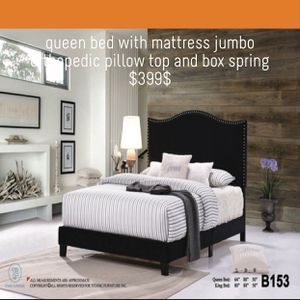 Bed frame with Queen Jumbo Orthopedic Pillow Top Mattress And Box Spring for Sale in Chicago, IL