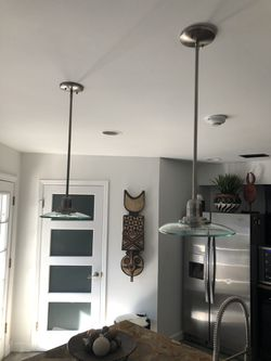 (2) Contemporary Brushed Nickel Pendant Lights, $60 for both for Sale in Monroe Township,  NJ