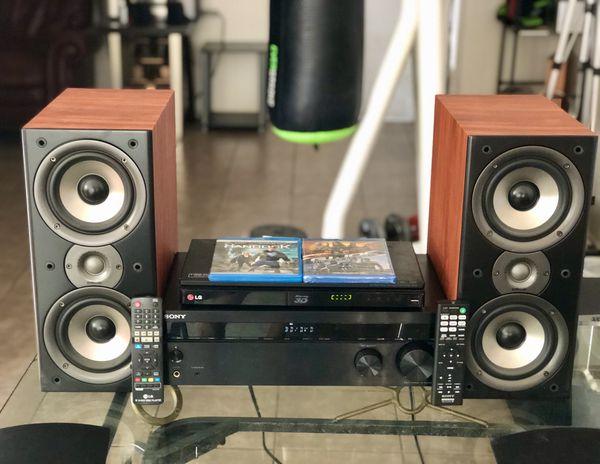 SONY UltraHD 4K/3D Bluetooth 5.2ch Receiver and Polk Audio w/ LG 3D Blu-ray/DVD/CD Player w/ WiFi
