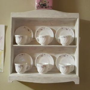 Vintage Wall Mounted Shelving unit with Tea cup set for Sale in The Bronx, NY