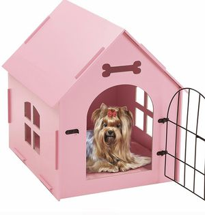 Portable Indoor Pet House Bed Wood Dog House, with Door And Window, Indoor Kennel for Small Dogs,Cats, Pet With Bed Mat -Pink (New In Box) for Sale in Los Angeles, CA