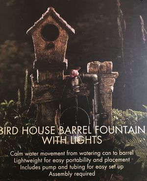 Brand new birdhouse barrel fountain with lights for Sale in Hanover, NJ
