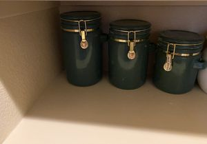 3 Ceramic Storage Canister WithValve Block and a cookie container for Sale in Las Vegas, NV